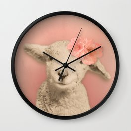 Flower Sheep Girl Portrait, Dusty Flamingo Pink Background Wall Clock