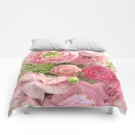 Shabby Chic Cottage Ranunculus Peonies Roses Floral Print Home Decor Comforters