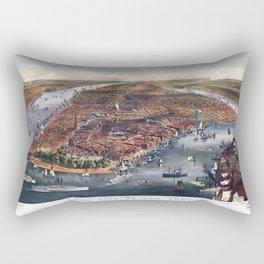 Gang of new york city old map Father Day art print poster Rectangular Pillow