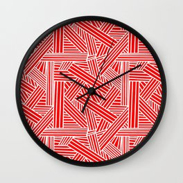 Sketchy Abstract (White & Red Pattern) Wall Clock