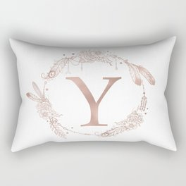 Letter Y Rose Gold Pink Initial Monogram Rectangular Pillow