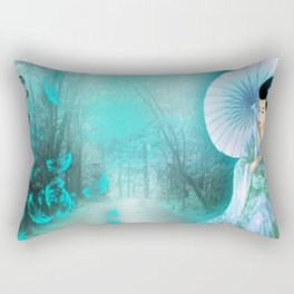 Geisha In Teal Rectangular Pillow