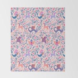 Fairy Folk Floral Throw Blanket