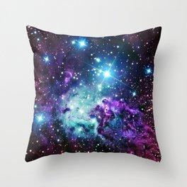 Fox Fur Nebula : Purple Teal Galaxy Throw Pillow