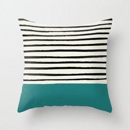 Teal x Stripes Throw Pillow