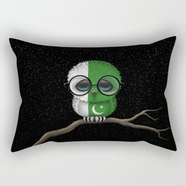 Baby Owl with Glasses and Pakistani Flag Rectangular Pillow