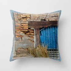 OLD BRICK WALL AND BLUE TARP WINDOW BHAKTAPUR NEPAL Throw Pillow