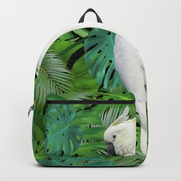 Cockatoo Parrot - Jungle Monstera Palm Leaves Backpack
