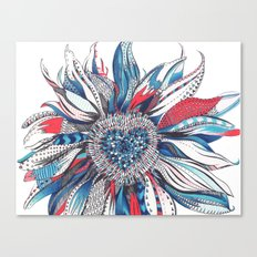 Flower Patterns on White Canvas Print