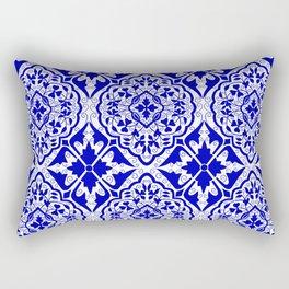 BOHEMIAN PALACE, ORNATE DAMASK: BLUE and WHITE Rectangular Pillow