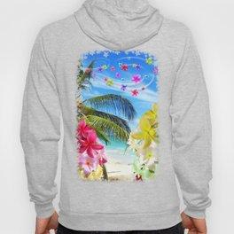 Tropical Beach and Exotic Plumeria Flowers Hoody