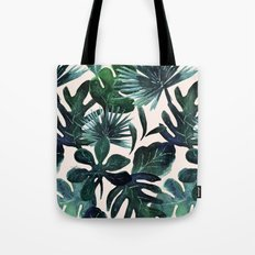 Tropical Leaves - Deep Sea and Blush Tote Bag