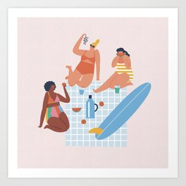 Surf sistas Art Print
