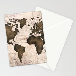 Coffee World Map Stationery Cards
