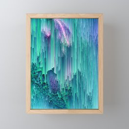 Emerald City - Glitched Pixel Abstract Art Framed Mini Art Print