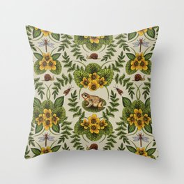 Wetlands Creatures - Toads, Snails, Dragonflies & Marsh Marigolds Throw Pillow