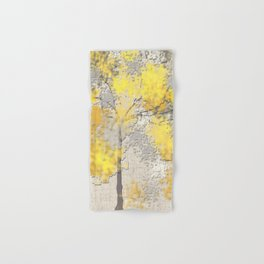Abstract Yellow and Gray Trees Hand & Bath Towel