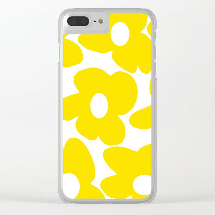 Large Yellow Retro Flowers on White Background #decor #society6 #buyart Clear iPhone Case