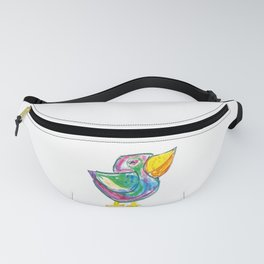 Funny bird illustration for children, colourfull sketch, painting Fanny Pack