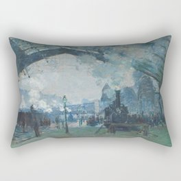 Claude Monet - Arrival of the Normandy Train Rectangular Pillow