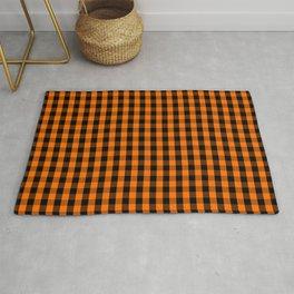 Classic Pumpkin Orange and Black Gingham Check Pattern Rug