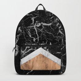 Arrows - Black Granite, White Marble & Wood #366 Backpack