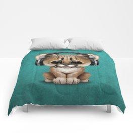 Cute Cougar Cub Dj Wearing Headphones on Blue Comforters