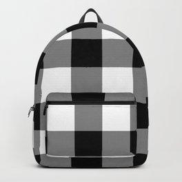 Black and White Buffalo Plaid Backpack