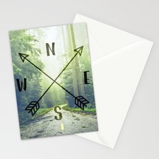 Forest Mountain Compass in the Redwoods - Find Your Way Home Adventure Stationery Cards