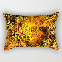 bees fill honeycombs in hive splatter watercolor Rectangular Pillow