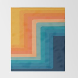 Retro 70s Color Lines Throw Blanket