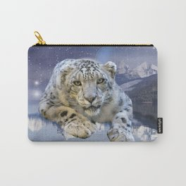 Snow Leopard and Moon Carry-All Pouch