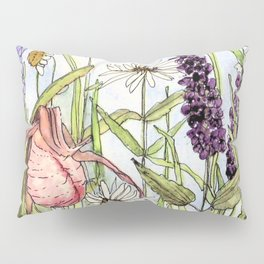 Lady Slipper Orchid Woodland Wildflower Watercolor Pillow Sham