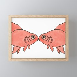 kissing fish Framed Mini Art Print