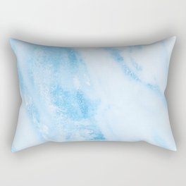 Shimmery Blue Clouds Marble Metallic Rectangular Pillow