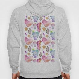 Trendy pastel pink teal watercolor feathers heart cactus Hoody