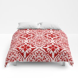 BOHEMIAN PALACE, ORNATE DAMASK: RED and WHITE Comforters