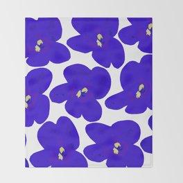 Blue Retro Flowers #decor #society6 #buyart Throw Blanket
