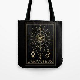 L'Amoureux or The Lovers Tarot Gold Tote Bag