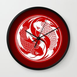 Red and White Yin Yang Koi Fish Wall Clock