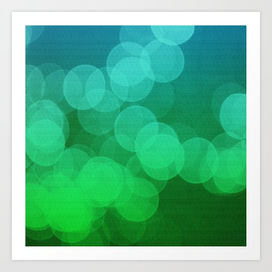 Blue Green Ombre Bokeh Art Print