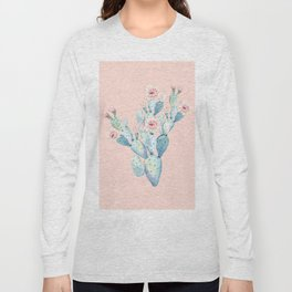 Rose Desert Cactus on Pink by Nature Magick Long Sleeve T-shirt