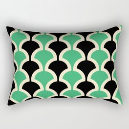 Classic Fan or Scallop Pattern 447 Black and Green Rectangular Pillow