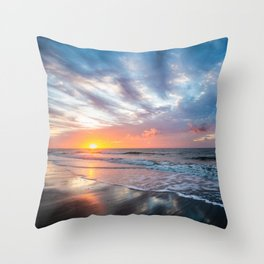 Daybreak at Hilton Head - Sunrise Along Beach at Hilton Head Island in South Carolina Throw Pillow