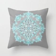 Teal and Aqua Lace Mandala on Grey Throw Pillow