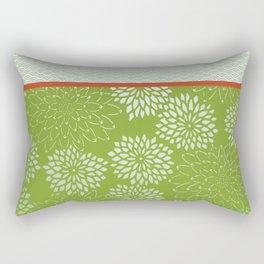 Dahlia Scallops Green and Orange Rectangular Pillow