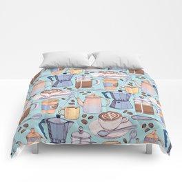 Coffee Love on Blue Comforters