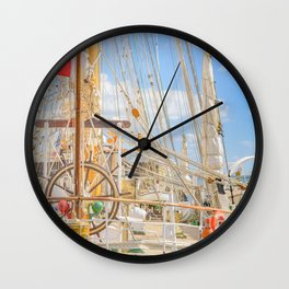 Sailing Ship Naval School Parked at Port Wall Clock