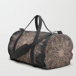 Mandala - rose gold and black marble 4 Duffle Bag