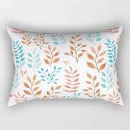 Watercolor twigs in turqoise and hazel colors Rectangular Pillow